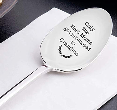 Only the Best Moms Get Promoted To Grandma - cute spoon - spoons engraved - engraved spoon - coffer lover - pregnancy announcement - pregnancy gifts