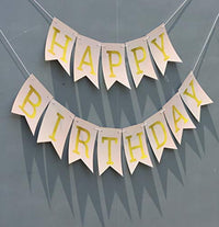 Ideas from Boston-Happy Birthday Banner, Party Decorations, Wall Banner Cutouts, Happy Birthday Yellow Sign Banner for, Colorful HBD Decoration