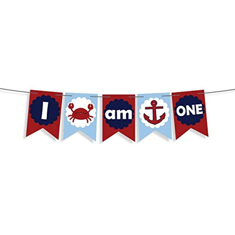 I Am One Banner Nautical Anchor Or Crab Banner For Baby First Birthday Decorations Boy Favors-nautical High Chair Banner -Cake Smash Banner Crab Sign Ocean Party Decor -Pirate Party Supplies 1st Bady