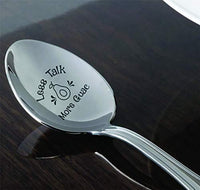 Avocado gift for avocado lover | Funny vegan gift kids | Children gift from dad/mom| Christmas gift ideas for Guacamole lover | Avocado gift Less talk more guac engraved spoon gift for men/women