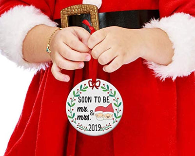 Personalized first Christmas ornament decoration-Soon to be Mr and Mrs Engagement ornament 2019-Newlyweds Christmas tree hanging decoration gift -Round bright bride groom just engaged Christmas decor
