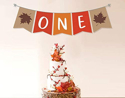 One Maple Leaf Fall happy Birthday Banner For Boy or Girl-Home Decor Autumn Fall Rustic Harvest Garland Party Decorations -Orange And Brown Birthday Banner Decor-First Birthday Decorations Fall