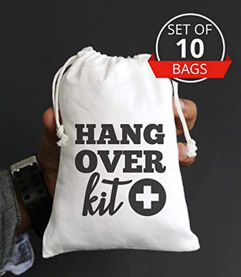 Hangover Kit, hangover bags, amenity bags, Bachelorette Party Hangover Kit Bags Cotton Drawstring Wedding Party Welcome Favor Bags (10pcs)
