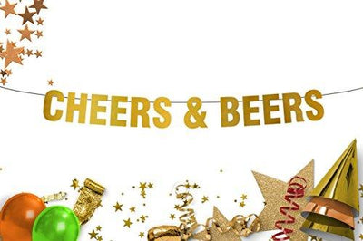 Cheers & Beers happy Birthday  Bachelorette Party   Bachelor Party Gold Banner