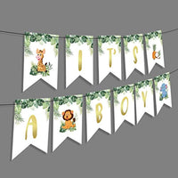 Vinyl Safari Party Supplies 1st Birthday Boy banner-Jungle Animal Creatures Theme Decorations-Tropical Party Theme Its A Boy Gender Reveal Baby Shower Banner-where The Wild Things Are Party Supplies
