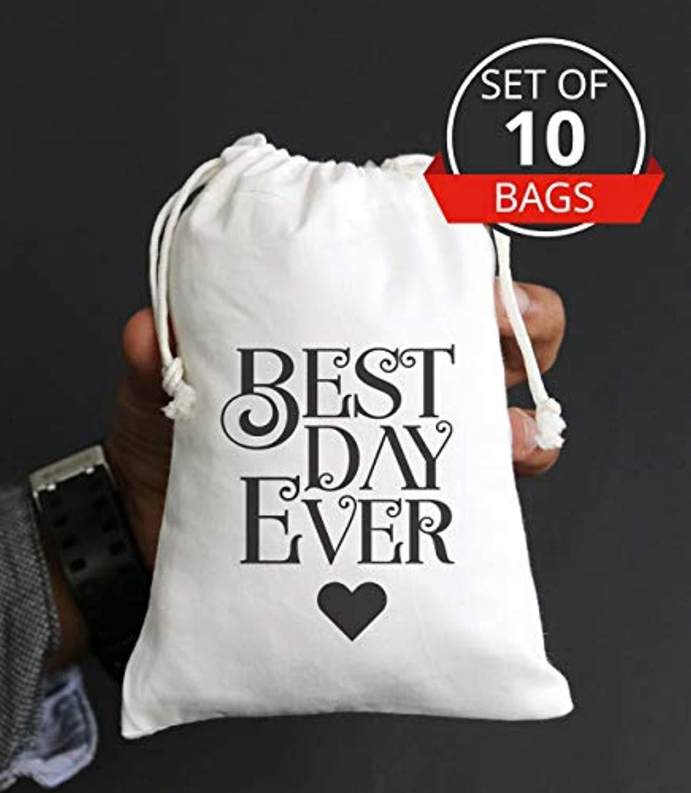 The Best Day Ever Wedding Guest Thank You Favor Bag Cotton Muslin Drawstring Bags for Bridal Shower