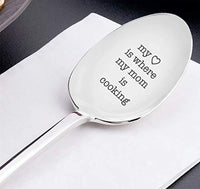 "Engraved Coffee Spoon Gift For Her - The Best Mom ""My Heart Is Where My Mom Is Cooking"" Mother's Day Gift For Mom - Unique Gift For Mummy - Coffee Lovers Gift Ideas"