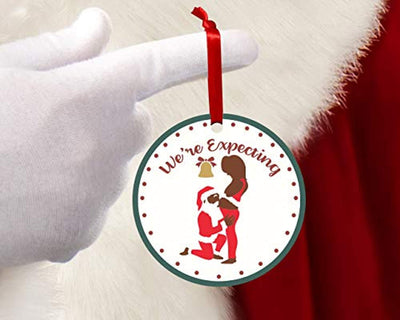We're expecting new mom pregnancy announcement Gift -1st Christmas as mommy new mother keepsake gift- Babies first Christmas ornament 2019 -Floral santa Round 2.75 inch Xmas tree decoration ideas