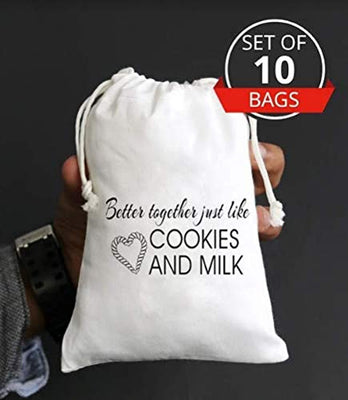 Better Together Just Like Cookies and Milk Cotton| Muslin Favors Bags| Thank You Treat Bag