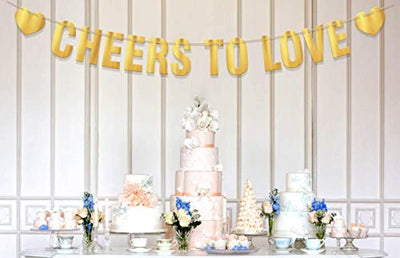 Cheers to Love Wedding Bridal Shower Party Banner - Engagement Decoration Sign- Gold Foil Bachelorette Party Decor Prop - Cheers Sign