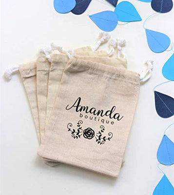Custom Boutique Name Favor String Bag Logo Printed Muslin Bags Jewelry Packaging Pouch Shop Names Personalized Wedding Bag Customized Business Event Sponsor Gift Drawstring Pouch Set of 40 bags
