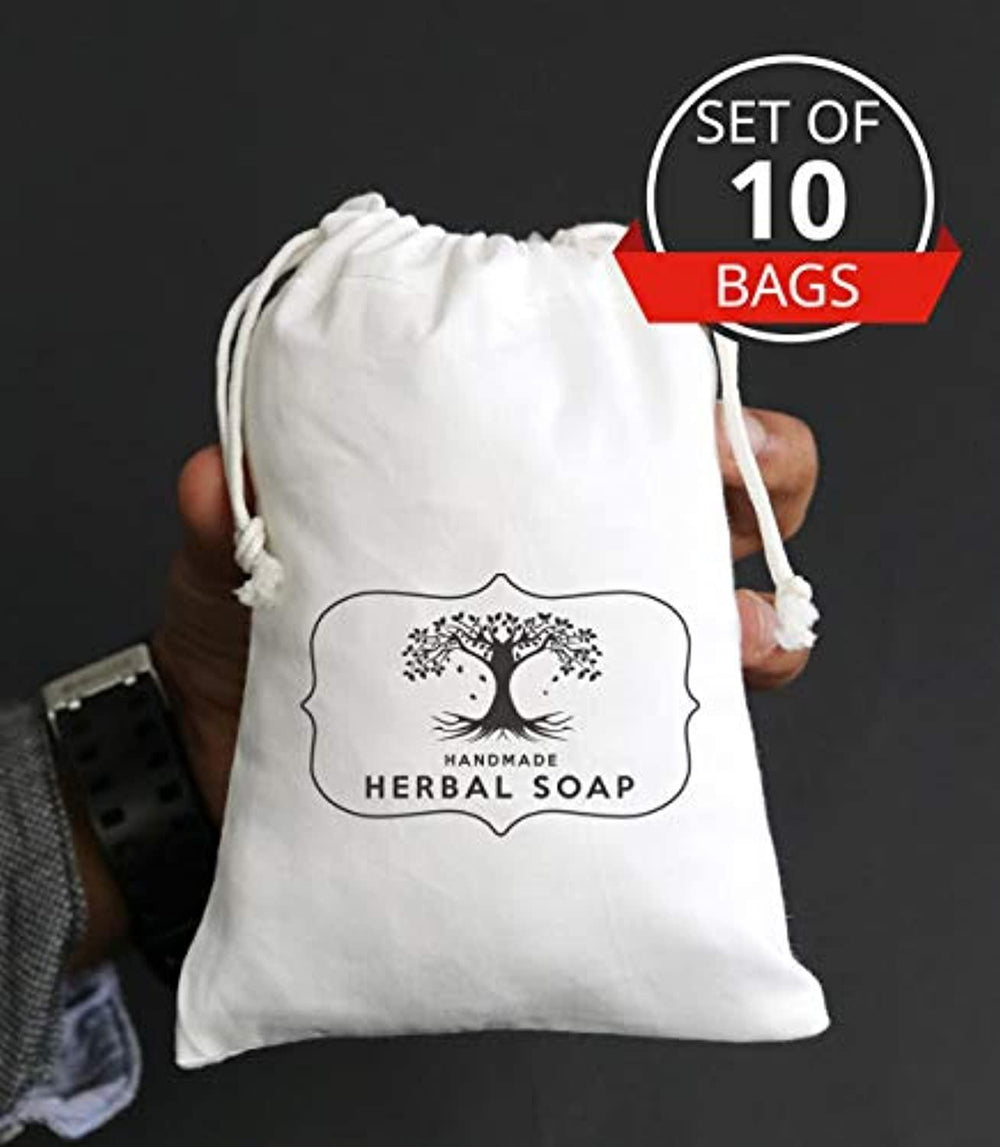 Ideas from boston Custom Herbal Soap Logo Merchandise Bag Business Event Customized Favor Bags for Candy Buffet Birthday Personalized Cotton Muslin Drawstring Eco Friendly Gift- Set of 40 Bags 5x7