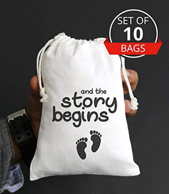 And The Story Begins Cute Baby Shower Candy Buffet Favors Bags Customized Favor Personalized Cotton Muslin Drawstring Eco Friendly Gift Bag-Set Of 10 Bags