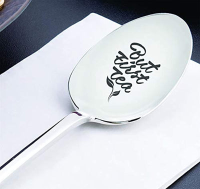 Engraved spoon gift for dad/mom from daughter son | Christmas gift for tea lover for men and Women | Gift for grandpa/grandma | Thanksgiving/Easter basket gift ideas | But first tea