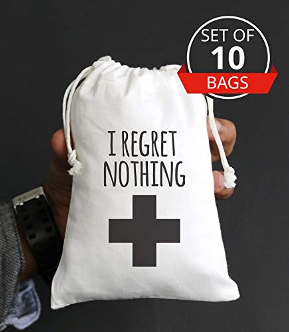 I Regret Nothing Hangover Kit Bachelorette Party Favor Cotton Muslin Favors Bags