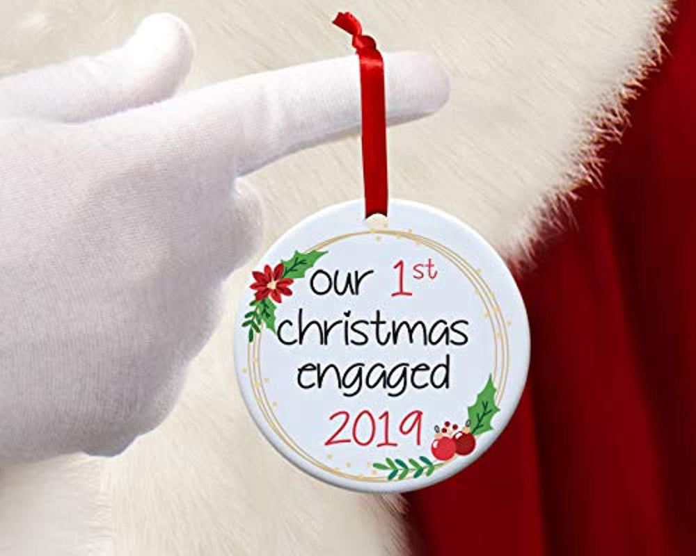 Our First Engagement Christmas Ornaments Gift for Couples-Xmas Tree Decor
