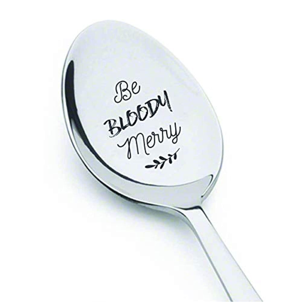 Christmas Gift For Men Women | Funny BFF Bloody Merry Engraved Spoon Gift