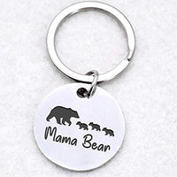 Mama Bear Keychain Sweet Family Personalized Jewelry for Mother Wife Grandma- Mothers Day Birthday gifts Stainless Steel Pendant Mama Bear i love you mom Pendant Key Ring and keychains