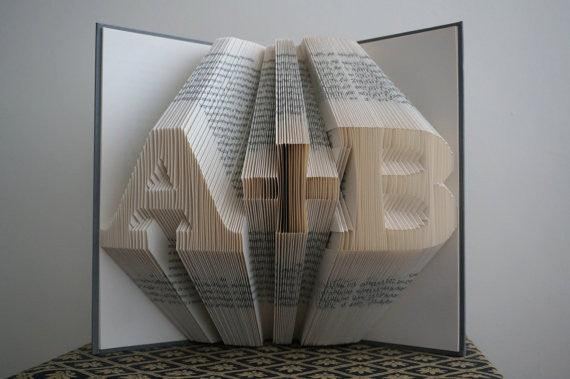 Folded Book Art  - Customizable Heart & Initials Pattern - BOSTON CREATIVE COMPANY
