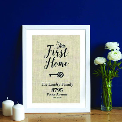 Elegant Burlap Print Gifts For House Warming