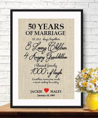 Rememberable Gift for 50th Wedding DAY/50th Anniversary Gifts/burlap Wall Art /Custom Burlap Print - BOSTON CREATIVE COMPANY