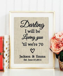 Thinking Out Loud Lyrics Burlap Print | Ed Sheeran Lyrics | Personalized Wedding Gift for Couple | Wedding Song Lyrics Valentines Day Gift #041 - BOSTON CREATIVE COMPANY