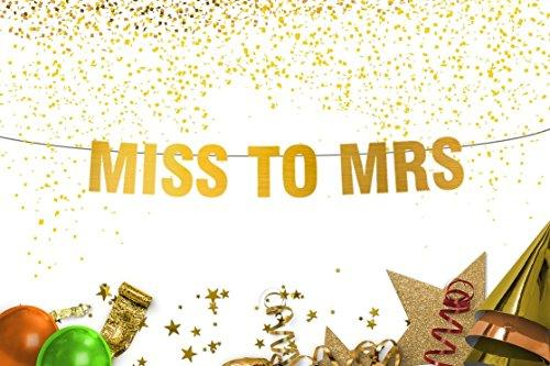 Miss to Mrs Sign wedding decorations  Miss to Mrs Bunting Gold banner