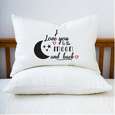 Engagement gifts - Decorative Pillow Covers - Funny Gifts - Best Friend Gifts - Bedroom Decor - I Love You to the Moon and Back Pillow case - BOSTON CREATIVE COMPANY