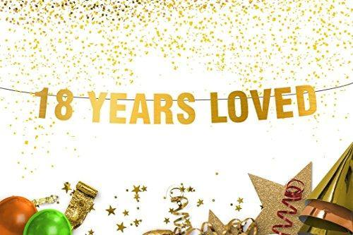18 Years Loved Gold Banner 18th birthday decorations banner