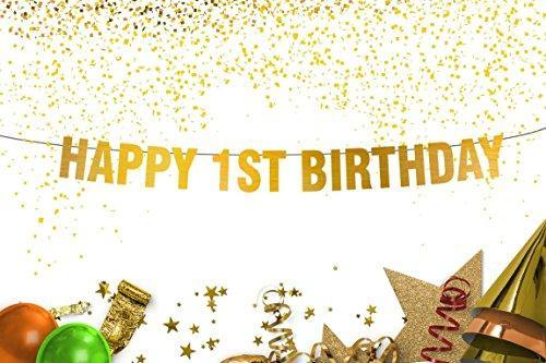 1st Birthday Decorations First Party Happy Gold Banner