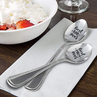 Best dad ever | Best mom ever engraved spoon gift for father mother from daughter/son | Christmas/Easter/Thanksgiving gift ideas for mom dad | Cool parents gift for father's day/mother's day