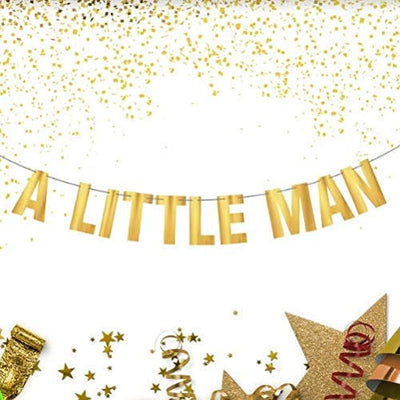 A Little Man Boy Baby Shower Theme Birthday Party Decoration Supplies -Gender Reveal and Pregnancy Announcement Prop Gold Foil Banner For Your Prince-Pre Strung and Adjustable Pennants