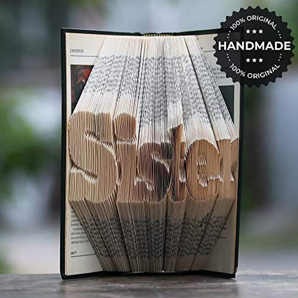 Sister Folded Book Art Unique Home Decor Gifts for Sister-Perfect Memorable Gifts for Sisters On Special Occasions