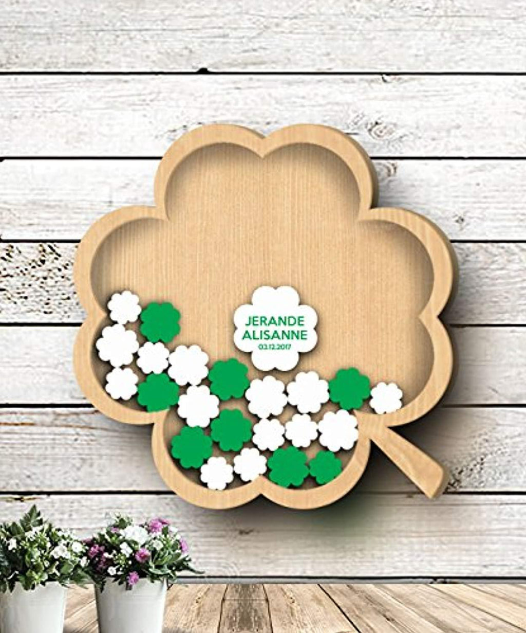 Shamrock Guest Book - 3D Wedding Guest Book - Personalized Wedding Guest Book -... - BOSTON CREATIVE COMPANY