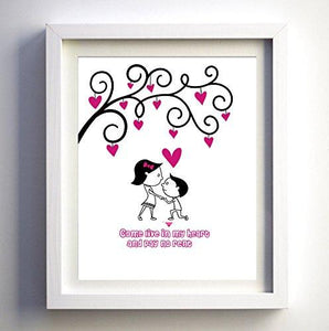 Best selling!! Typography Art - Unique Custom Valentine day Gift - Unique Anniversary gift -Wedding Gift -Cartoon Print-customized poster (Large (16 x 20)) - BOSTON CREATIVE COMPANY