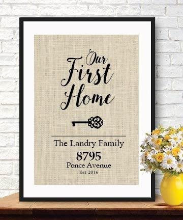 Our First Home Burlap Print - BOSTON CREATIVE COMPANY