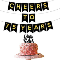 75th birthday party decorations kit - Cheers to 75 years banner | 75 years old party supplies 75th anniversary decorations | Cheers to 75 years gold bunting banner men women| 75 years loved sign
