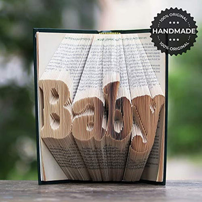 Baby Folded Book Art - Handmade Gift for Baby Shower - Gender Reveal Party Presentation - We are Expecting Baby Its a Boy or a Girl