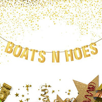 Boats N Hoes Banner Sign Garland Gold Glitter For Bachelorette Nautical Theme Engagement Bridal Shower Birthday Decor Men Or Women-bachelorette Brunch Decor Bride To Be Party Decoration