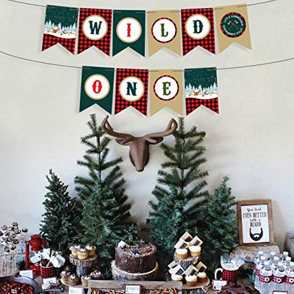 Wild One Birthday Decorations Jungle Theme Party Supplies Banner Sign -High Chair Lumberjack Party Supplies 1st Birthday Boy Or Girl-First Happy Birthday Buffalo Check Camping Decor Winter Banner