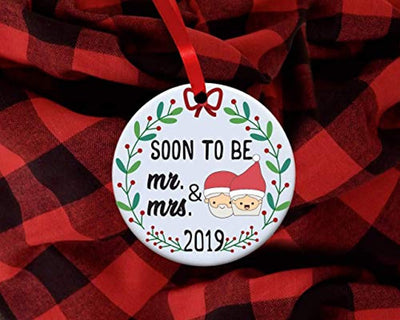 First Christmas Ornament Decoration-Soon to be Mr and Mrs-Just Engaged Christmas Decor