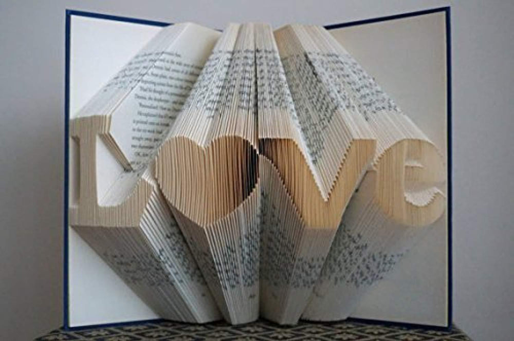 Fathers day gifts - love pattern - Folded Book Art - Gifts for Dad - Gifts for mom - Wedding Decoration - Unique Birthday Gift - 8 Numbers - Save the Date - personalized gifts - 50th anniversary gifts