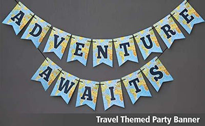 Adventure Awaits Travel Themed Party  World Awaits  Bon Voyage Card-stock Banner