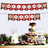 Party Tarty-Woodland creature banner Welcome Baby Fox Animal Themed Baby Shower First Birthday Banner-Forest themed Baby Shower Neutral Party Supplies Decorations Woodland Gender Reveal Banner