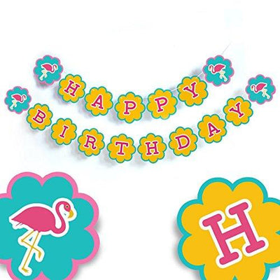 Flamingo Happy Birthday Banner Party Decorations Baby Shower Party Birthday Banner décor Tropical Pink Bird