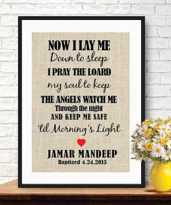 Now I Lay Me Down to Sleep - Gift for Children - Burlap Print - Dedication - Christening Gifts - Prayer For Children #B_PRINT_19 - BOSTON CREATIVE COMPANY