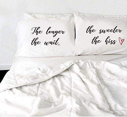 Decorative Pillow Covers - Bedroom Decor - The longer the wait, the sweeter the kiss Pillow - White Pillow Cover - Set of 2 - BOSTON CREATIVE COMPANY
