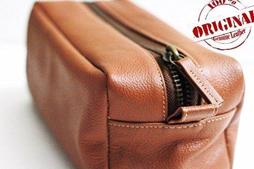 Brown Toiletry Case Dopp Kit, Shaving Bag for Men!! Gift for Brother!!! Groomsmen Present!! Wedding Day Gift ! Birthday Gift!! - BOSTON CREATIVE COMPANY