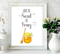 Valentines day gift-Love As Sweet As Honey - Love Quote - Kitchen Wall Decor - Home Decor - gifts for women - Watercolor Decor - Inspirational Print - love Art - Honey Print – Wedding gift - BOSTON CREATIVE COMPANY