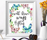 nursery decor - With Brave Wings She Flies - butterfly wall quotes - Tropical Print - Quote Print - Watercolor Nursery Art - Holiday Supplies - Colorful Wall Art-Kids Room Decor-Butterfly Print - BOSTON CREATIVE COMPANY